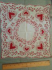 Vintage Ladies Valentine Hanky Assorted Hearts Scallop Edge