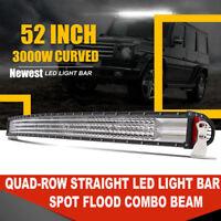 "Quad Row 52"" inch 3000W Curved Led Spot Flood Combo Light Bar vs 50"" 53"" 54"""