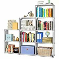 4 Tier 9-Shelf Bookcase Storage Shelving Book Wide Bookshelf Furniture !!