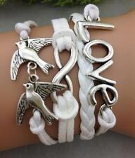 Infinity Bracelet Infinite Leather Braided Love Birds Dove Peace Vintage