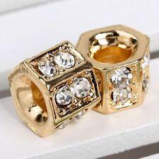 5pc Rhinestone Crystal Golden Tone Big Hole Bead Fit Charm Bracelet