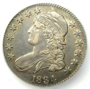 1834 Capped Bust Half Dollar 50C Coin - ICG AU50 - Rare Certified Coin!