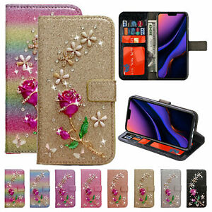 3D Rose Bling Glitter Leather Magnetic Wallet Case For iPhone 11 Pro Xs Max 7 8