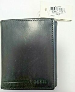 FOSSIL Mens Brenner Leather Trifold Wallet Black ML3724001