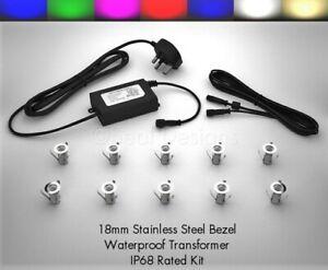 10 x 18mm LED Lights Deck/Decking/Plinth/Kickboard/Recessed/ Kitchen - 7 Colours