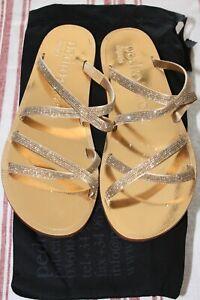 Womens Pedro Garcia Gold Zarella Sandals with Swarovski Crystals, Size 38 1/2