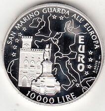 SAN MARINO 1996 LIRE 10000 ARGENTO SILVER EUROPA 2000  PROOF IN FONDO SPECCHIO
