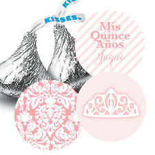 Mis Quince Anos Hershey Kiss Stickers for Party Favors - Tiara Crown & Damask