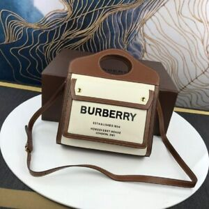 NWT Mini Two-tone Canvas, Leather Pocket burberry bag new For Women, Brown Color