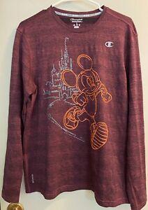 Champion Performance Vapor RunDisney Long Sleeve Shirt Purple Mickey Mouse Large