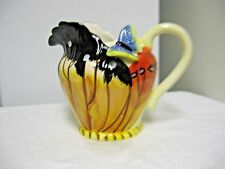 Older Ceramic Novelty Water,Juice Pitcher-Applied Butterfy-Melons Motif