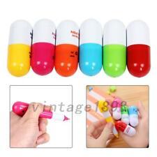7Pcs Mini Smiling Face Vitamin Capsule Ballpen Pill Ball Point Novelty Pens New