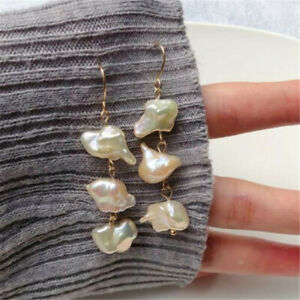 National Baroque fresh water pearl golden earrings VALENTINE'S DAY Diy