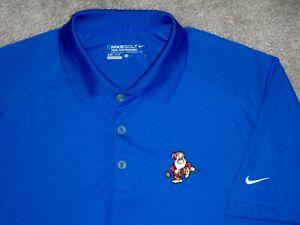Men's NWOT NIKE GOLF Dri-Fit Tour Polo M ROYAL BLUE w/Swoosh & GRUMPY Disney