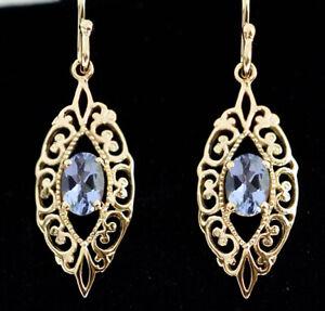 E087 - Ornate Genuine 9ct  Yellow Gold NATURAL Aquamarine Filigree Drop Earrings