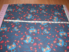 """Owls Fall Leaves Tree Branches Corduroy Fabric 1 Yard Length 42"""" Wide"""
