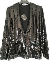 BNWT All Over Black Sequin Blazer / jacket Size 12