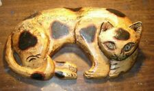 VINTAGE ANTIQUE FOLK ART, HAND CARVED WOOD SPOTTED CAT -UNKNOWN ARTIST