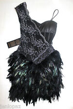 NWT Bebe black lace one shoulder bustier isis feather kardashians top dress XS