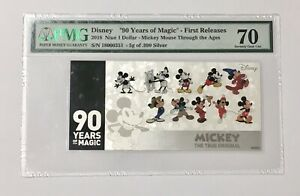 2018 Disney Silver Mickey Mouse 90TH Anniversary-5G Coin Note - PMG 70 F/R