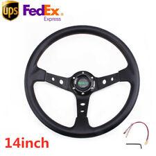 US 14inch 350mm Deep Dish 6 Bolt Racing Steering Wheel PU Leather W/Horn