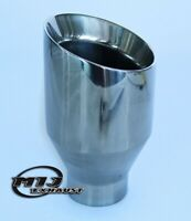 """4"""" Round Exhaust Tail Pipe Slash Cut Stainless steel Sport Trim Tip High Quality"""