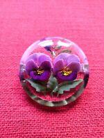 Lovely Vintage 1940s Reverse Carved Lucite Pansy Violet Flower Brooch VTG