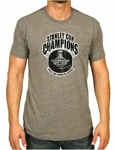 Los Angeles Kings Retro Brand 2014 NHL Stanley Cup Champions Logo Gray T-Shirt