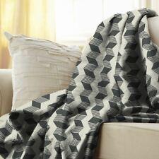 Sunbeam Heated Electric Microplush Throw Blanket 50 x 60 GRAY Chevron Soft Bed W