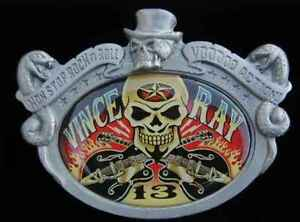 VINCE RAY SKULL AND GUITARS VOODOO ACTION BELT BUCKLE ROCKABILLY NEW!