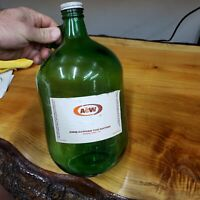 VTG GALLON BOTTLE WITH A&W ROOT BEER PAPER LABEL – GREEN RARE