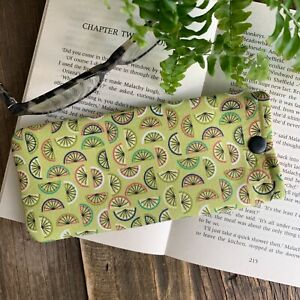 Lime fabric glasses case Green spectacle snap pouch Handmade Gift idea