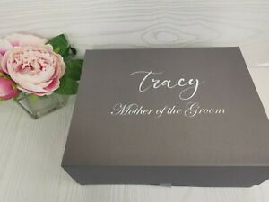 Personalised Gift Box Luxury Extra Large Deep Grey High Quality Wedding Birthday