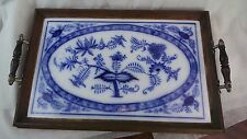 ANTIQUE MEISSEN STYLE BLUE ONION SERVING TRAY