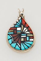Zuni Handmade Sterling Silver with Multi-Stone Inlay Pendant