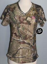 New Ladies REALTREE Camo Short Sleeve V-Neck T-Shirt Womens S XL Shirt Hunting