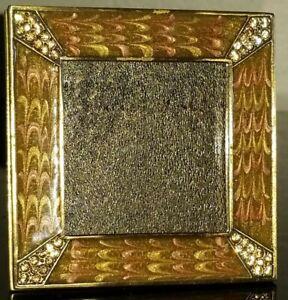 "JAY STRONGWATER GOLD ENAMELED SWAROVSKI CRYSTAL PAVE PICTURE FRAME 3""×3"""