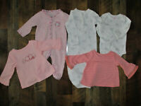 Mixed Lot Of 5 Carter's~Okie Dokie & Jumping Beans Tops & Sleepers 3 Months Girl