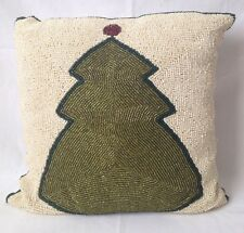 Beaded Ivory w Green Christmas Tree Throw Pillow Satin Zippered Cover