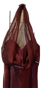 Betsy & Adam Women Ox Blood Halter Neck Maxi prom/wedding/ party dress size 14