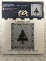 "DMC Metallic & Beadwork Christmas Tree Counted Cross Stitch Kit Size 4-1/2"" x 5"""