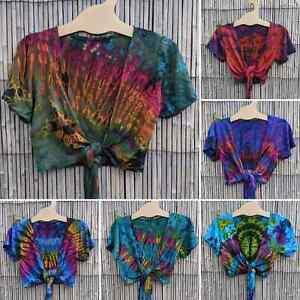 Tie dye cropped wrap tie top crop boho hippy festival  XS - M