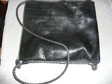 Vintage ~ EM ~ Black snakeskin pattern leather shoulder bag tote ~ Braided strap