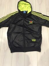Rare Adidas Chile '62 hooded tracksuit Jacket | Black Neon Yellow Wet look