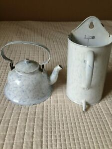 French enamel (bell teapot stamped) and irrigator vintage.(chickenwire design)
