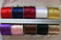 Satin String Ribbon 2mm Round 5, 6.5 or 10 Metre Lengths - 10 Colour Choices D2