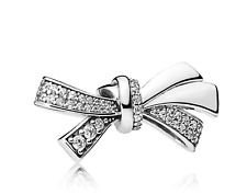 Pandora Genuine Sterling Silver S925 Large Brilliant Bow Charm CZ Bead