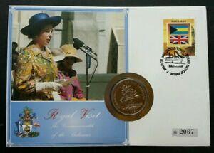 [SJ] Bahamas Royal Visit 1994 Queen Elizabeth II Flag Shell FDC (coin cover)