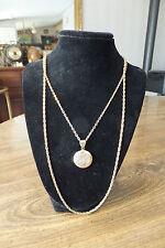 Gold Tone Round Locket & Chain Necklace