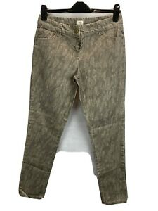 F&F Grey Coated Stretch Cotton Snakeskin Skinny Mid Rise Jeans Size 12 Casual